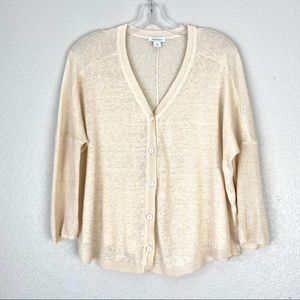 SUNDANCE Thin Knit Boho Linen Cream Cardigan (S)
